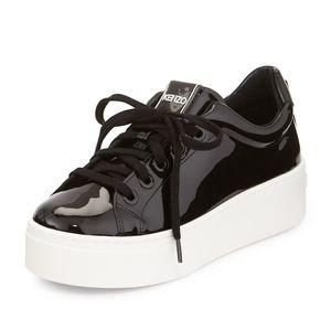 Kenzo Black Patent Leather Platform Sneaker 40
